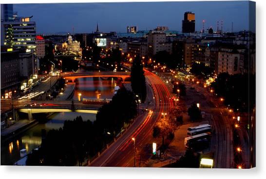 Vienna - City Night Lights Canvas Print
