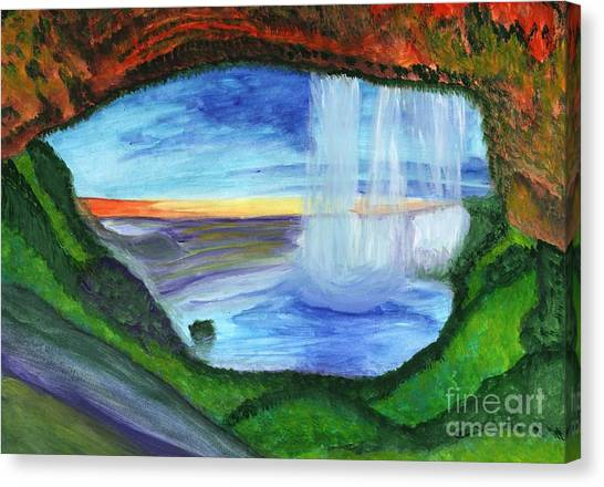 View From The Cave To The Waterfall Canvas Print