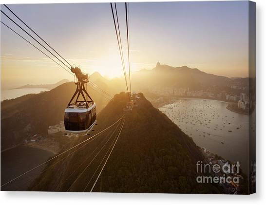 South American Canvas Print - View Of A Cable Car At Sunset, Showing by Claire Mcadams