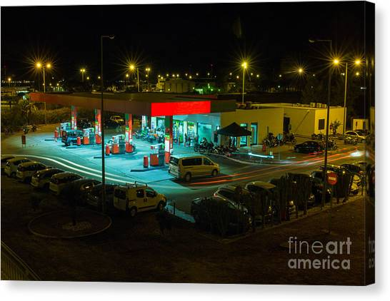 Neon Canvas Print - View Of A Urban Gas Station Working In by Mauro Rodrigues