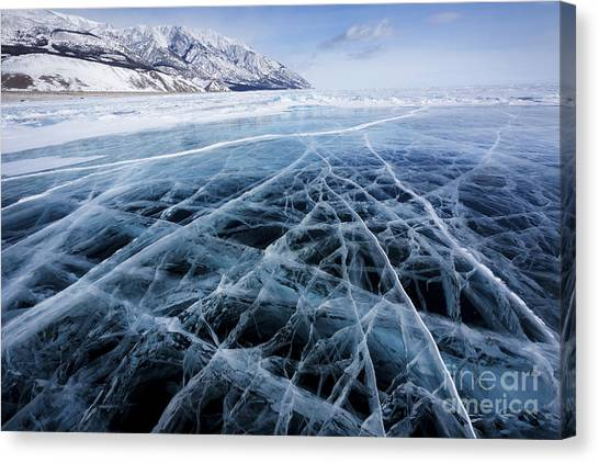 North Shore Canvas Print - View Of Beautiful Drawings On Ice From by Nickolay Vinokurov