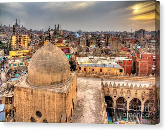 Worship Canvas Print - View Of Cairo From Roof Of Amir by Leonid Andronov