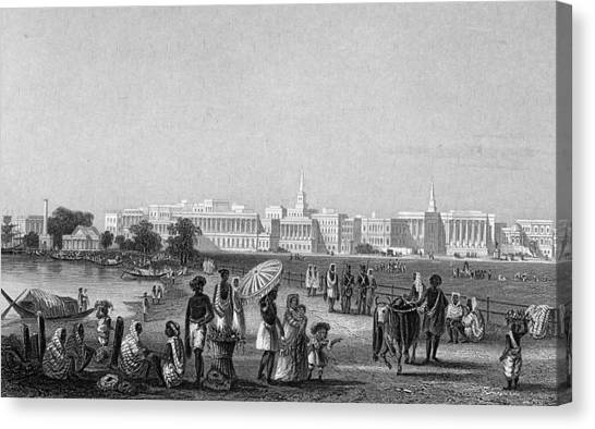 View Of Calcutta From The Esplanade Canvas Print by Hulton Archive