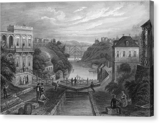 View Of Erie Canal Canvas Print by Kean Collection