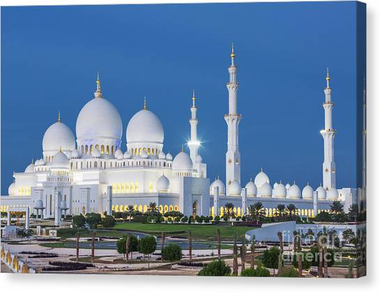 Worship Canvas Print - View Of Famous Abu Dhabi Sheikh Zayed by Prochasson Frederic