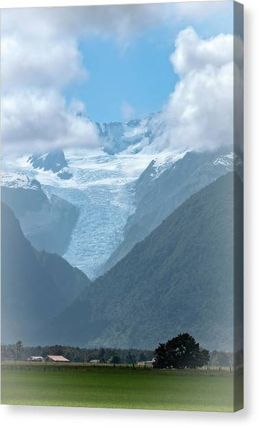 Fox Glacier Canvas Print - View Of Fox Glacier New Zealand by Joan Carroll