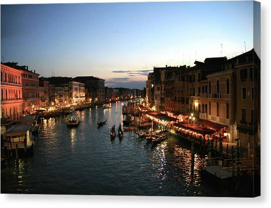 The Bean Canvas Print - View Of Grand Canal From Rialto Bridge by Bean There