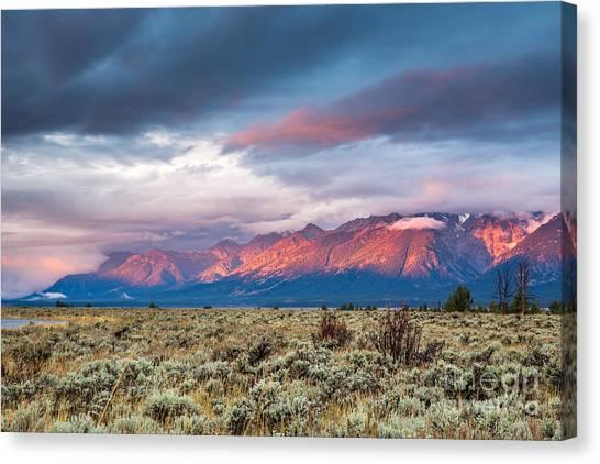 View Of Grand Teton Mountain Range At Canvas Print by Victor Maschek