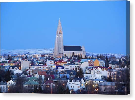 View Of Hallgrimskirkja Church Canvas Print