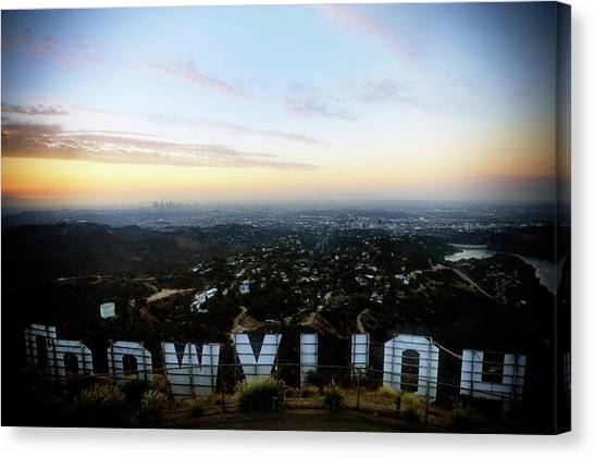 View Of La From Behind The Hollywood Canvas Print