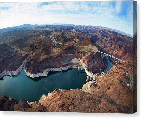 View Of Lake Mead And Hoover Dam Canvas Print by Derek E. Rothchild