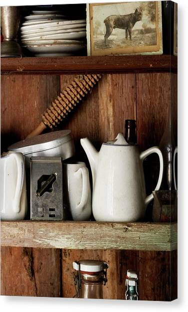 Fleas Canvas Print - View Of Old Crockery In Flea Market by Johner Images