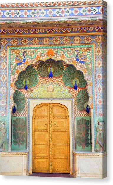 View Of Peacock Door In Palace Canvas Print