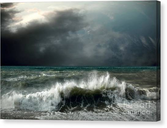 Grey Background Canvas Print - View Of Storm Seascape by Andrey Yurlov