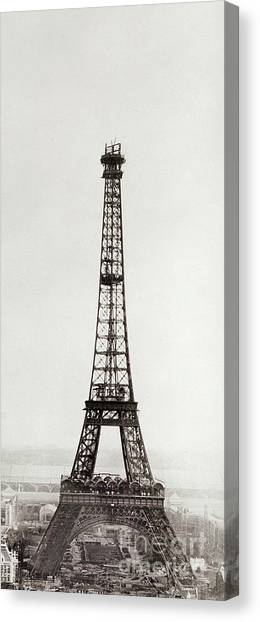 Parisian Canvas Print - View Of The Construction Of The Eiffel Tower, Paris, 12th February And 12th March 1889 by French School