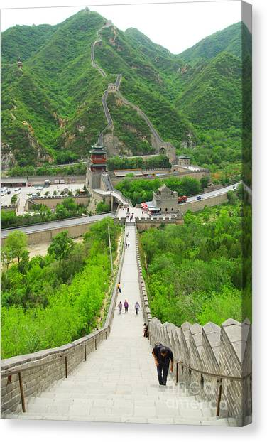 Fortification Canvas Print - View Of The Great Wall Of China, In by Henry Tsui