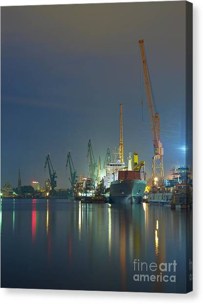 Freight Canvas Print - View Of The Quay Shipyard Of Gdansk by Nightman1965