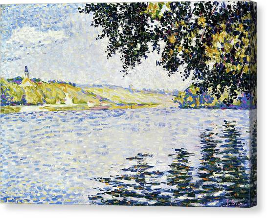 Signac Canvas Print - View Of The Seine At Herblay - Digital Remastered Edition by Paul Signac