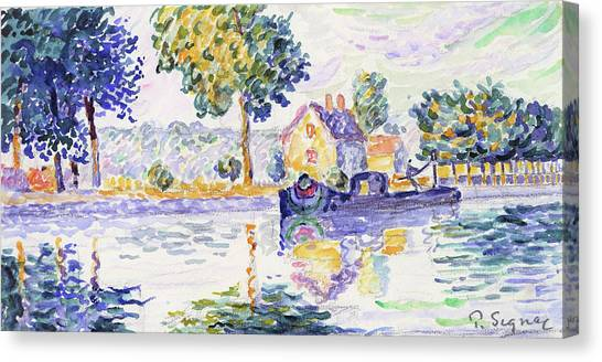 Signac Canvas Print - View Of The Seine, Samois - Digital Remastered Edition by Paul Signac