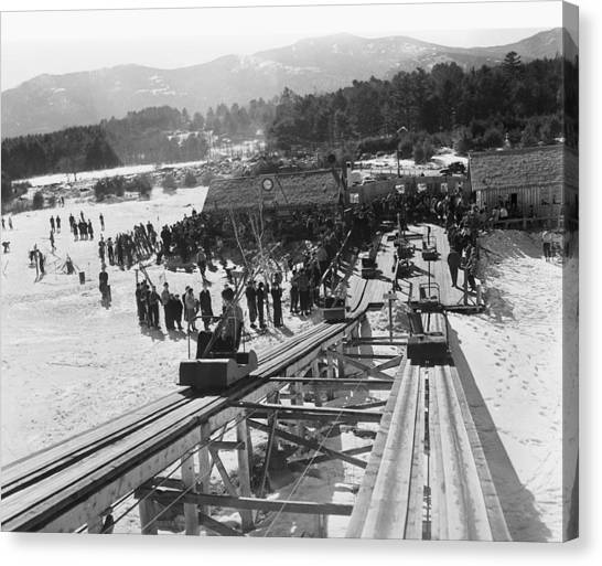 View Of The Skimobile At The Cranmore Canvas Print