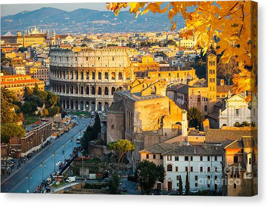Bricks Canvas Print - View On Colosseum In Rome, Italy by S.borisov