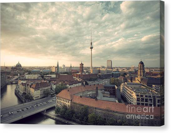 Tv Tower Canvas Print - View Over Berlin Mitte At Evening by Ar Pictures