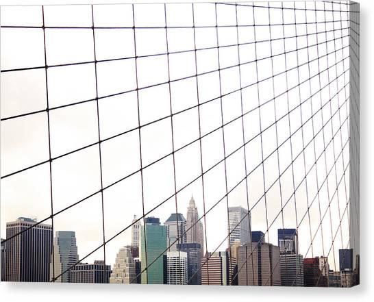 View To Nyc Through Brooklyn Bridge Canvas Print by Thomas Northcut