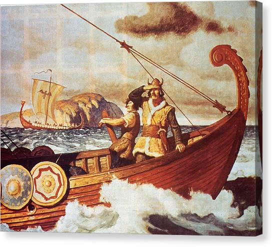 Viking Longship On The Water Canvas Print by Hulton Archive