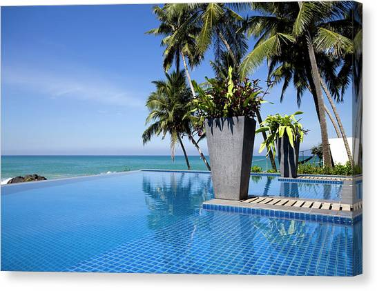Villa Hotel Swimming Pool Sri Lanka Canvas Print by Laughingmango