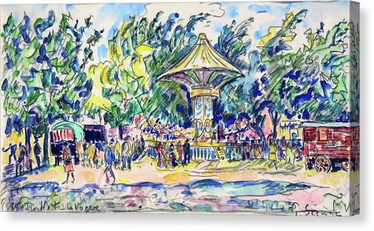 Signac Canvas Print - Village Festival, The Vogue - Digital Remastered Edition by Paul Signac