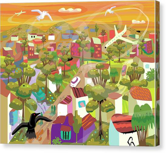 Village In Movement And Child Like Canvas Print by Charles Harker