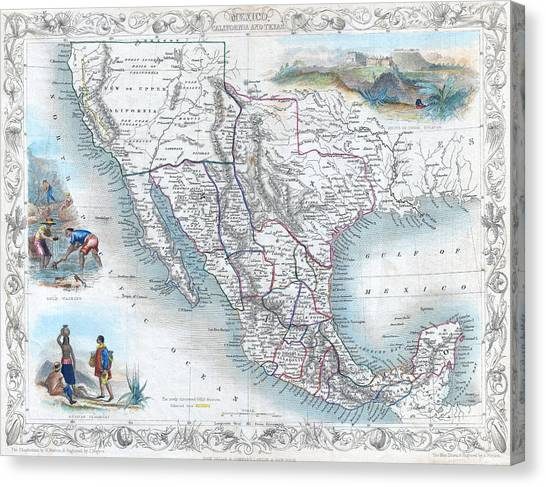 Vingage Map Of Texas, California And Mexico Canvas Print