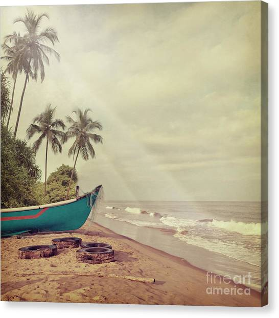 Vintage Beach Background Canvas Print by Sundari