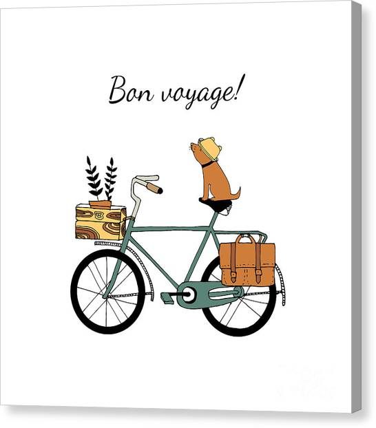 Basket Canvas Print - Vintage Bicycle Illustration by Nicetoseeya