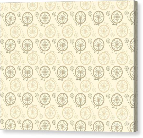 Exercising Canvas Print - Vintage Bicycle Pattern by Vectorbaba