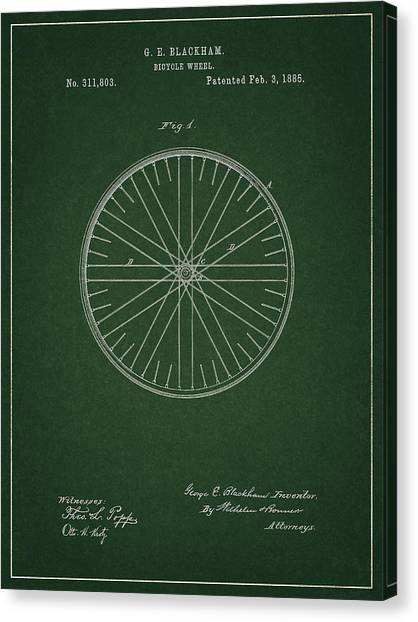 Canvas Print featuring the drawing Vintage Bicycle Tire Patent by Dan Sproul
