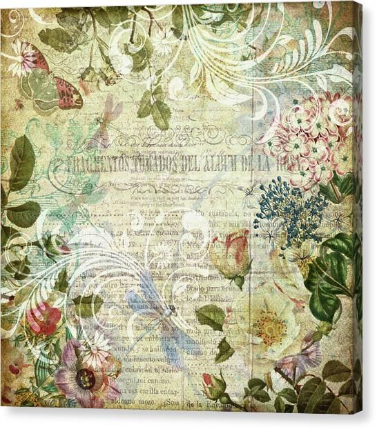 Vintage Botanical Illustration Collage Canvas Print