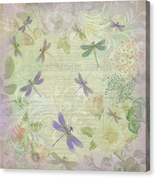 Vintage Botanical Illustrations And Dragonflies Canvas Print