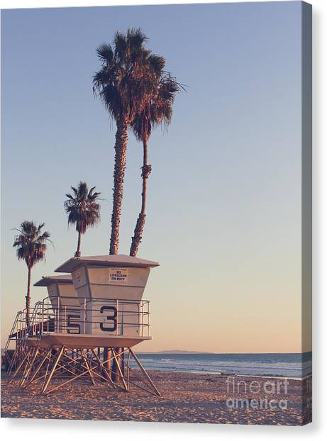 Vintage California Life Guard Station - Canvas Print by Dcornelius