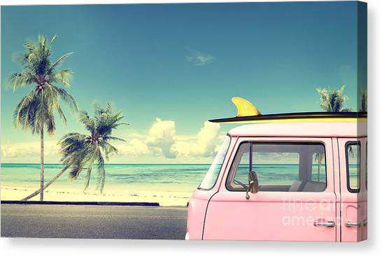 Vintage Car In The Beach With A Canvas Print by Jakkapan