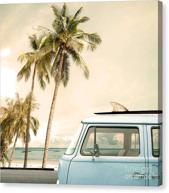Vintage Car Parked On The Tropical Canvas Print by Jakkapan