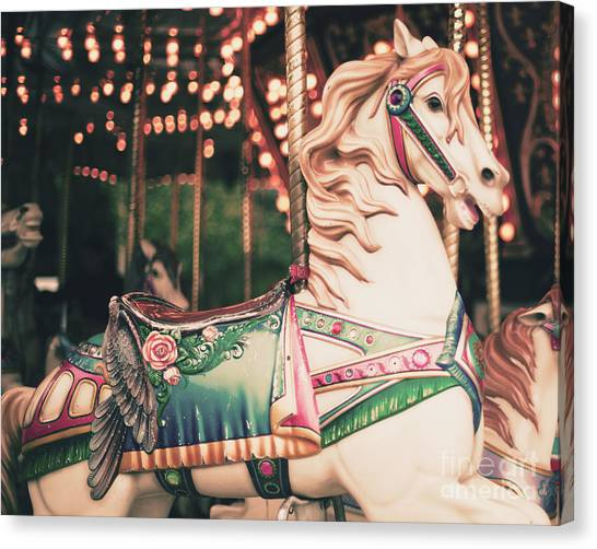 Vintage Carousel Horse Canvas Print by Andrekart Photography