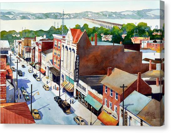 Vintage Color, Columbia Rooftops Canvas Print