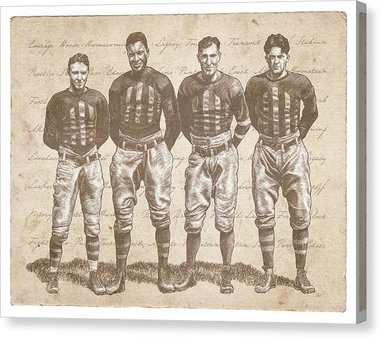 Canvas Print featuring the drawing Vintage Football Heroes by Clint Hansen