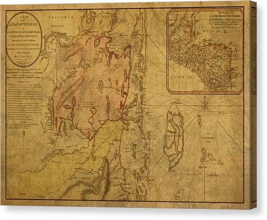 Belize Canvas Print - Vintage Map Of Belize 1787 by Design Turnpike