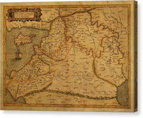 Syrian Canvas Print - Vintage Map Of Middle East 1584 by Design Turnpike