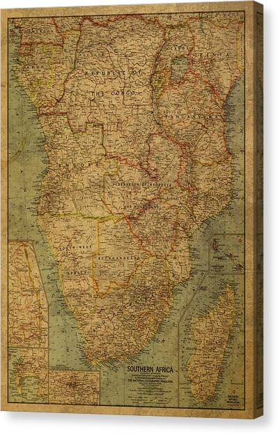 Southern Africa Canvas Print - Vintage Map Of South Africa Continent 1962 by Design Turnpike