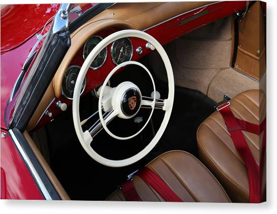 Canvas Print featuring the photograph Vintage Red Convertible Interior by Debi Dalio