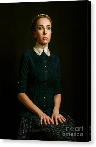 Vintage Portrait Of A Seated Woman Canvas Print by Ishimaru