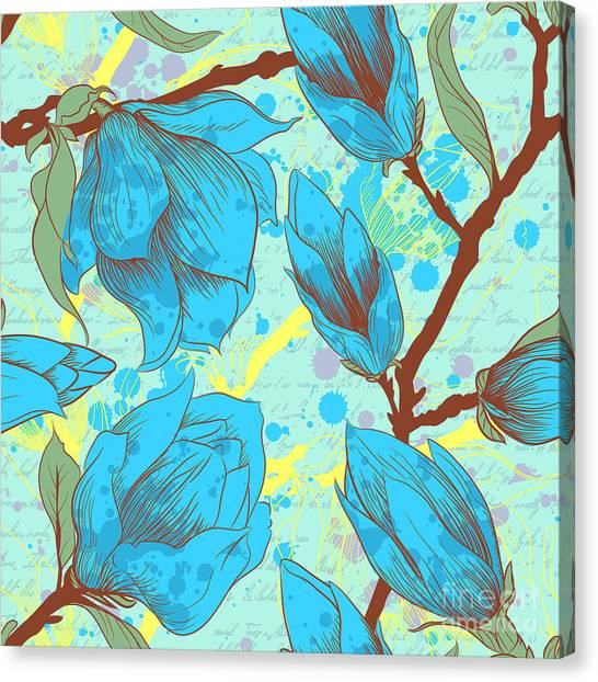 Vintage Seamless Pattern With Magnolia Canvas Print by Elena Eskevich